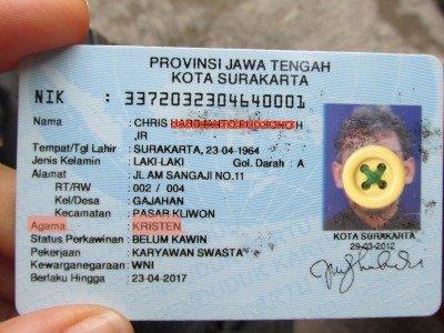 Religione sulla carta d'identità in Indonesia