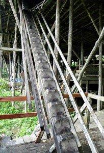 Sungai Uluk Palin longhouse stairs