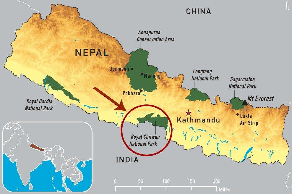 Mappa Nepal e parco Nazionale del Chitwan
