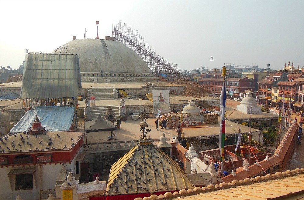 Stupa Bodhnat Kathmandu dopo il terremoto