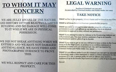 Squatting a Londra: il Legal Warning