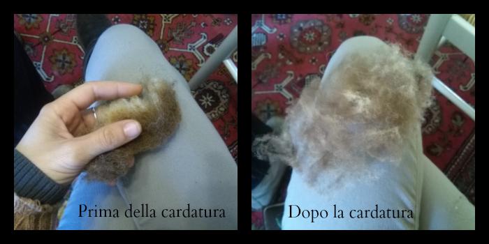 Cardatura della lana a mano prima e dopo