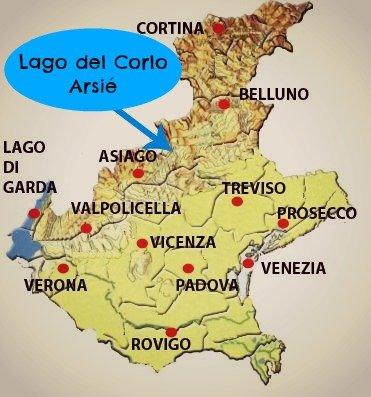 mappa Arsiè lago del Corlo