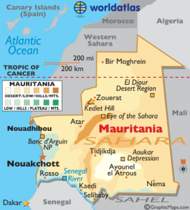 Viaggio in Mauritania - Mappa Mauritania