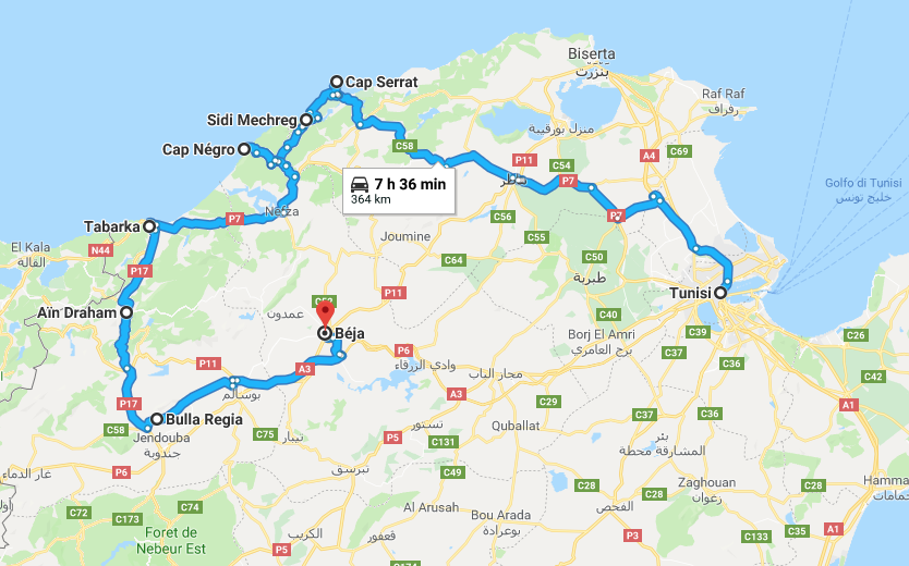 Tunisia itinerario di viaggio mappa