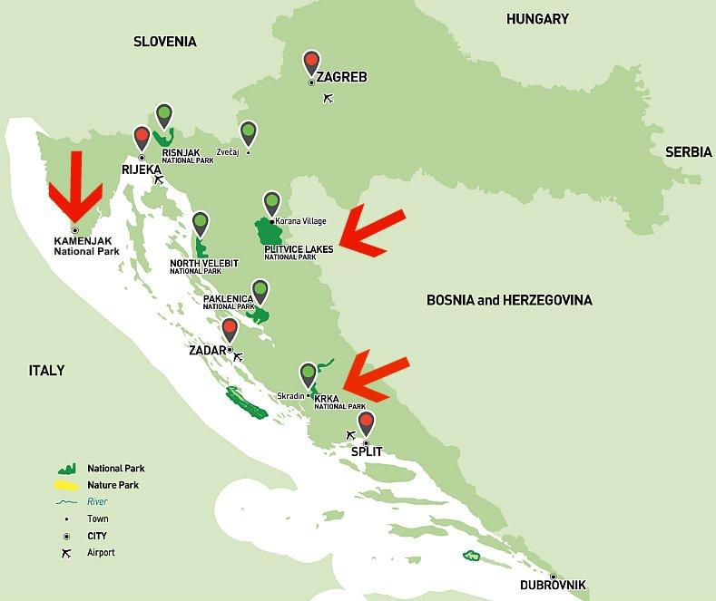 Mappa Parchi Nazionali Croazia