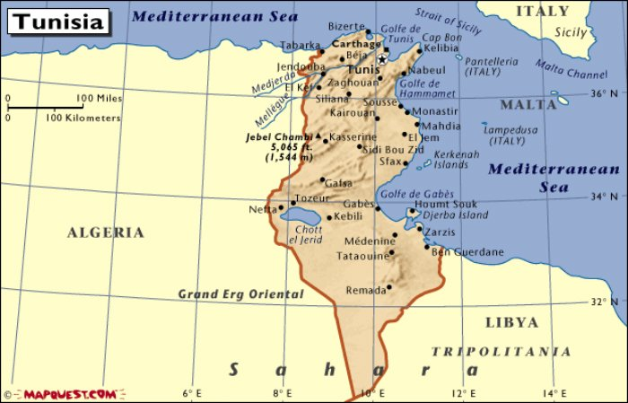 Mappa della Tunisia