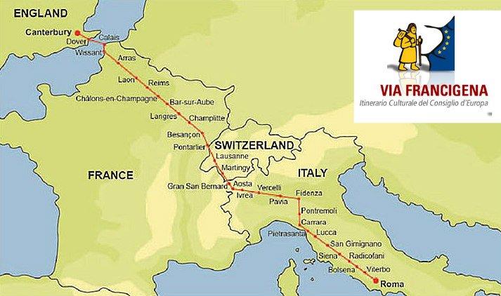 Mappa Via Francigena Europa
