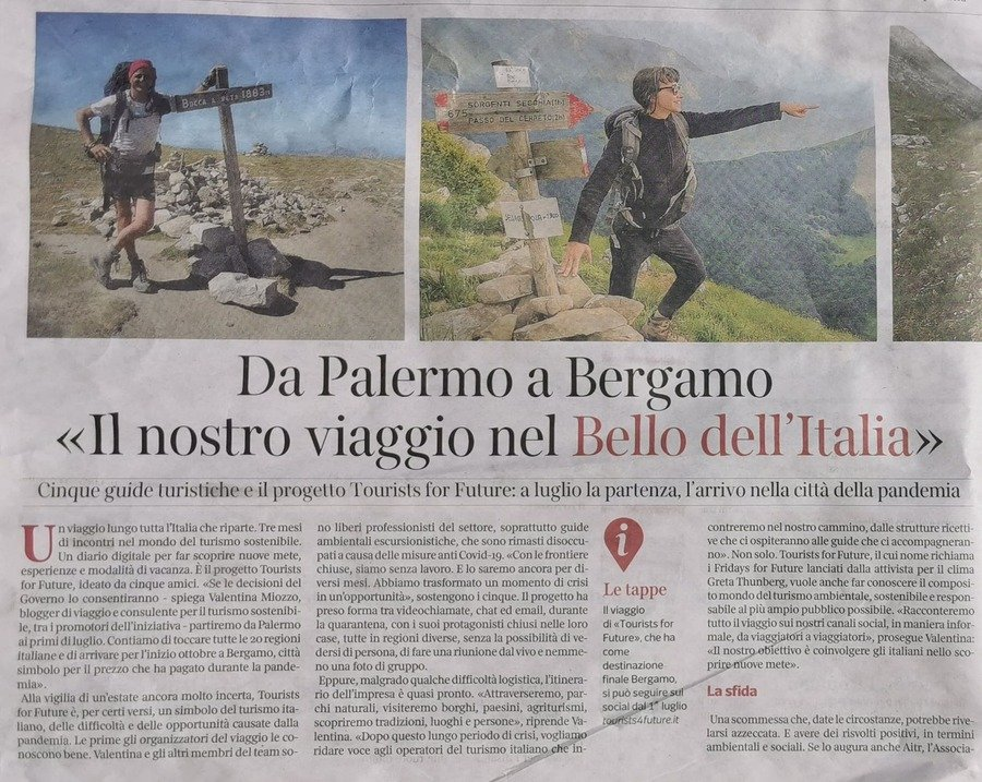 Tourists 4 Future sul Corriere della Sera